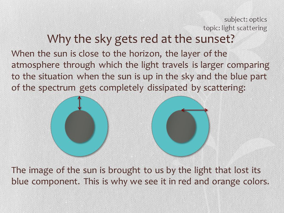 Why the sky gets red at the sunset? subject: optics topic: light scattering When the sun is close to the horizon, the layer of the atmosphere through