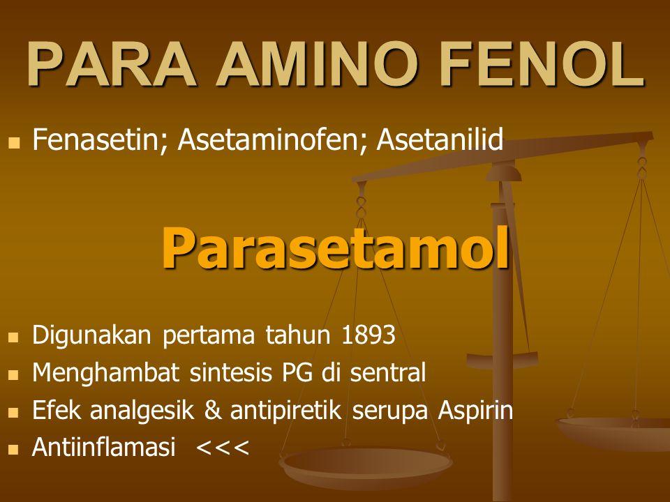 PARA AMINO FENOL Fenasetin; Asetaminofen; AsetanilidParasetamol Digunakan pertama tahun 1893 Menghambat sintesis PG di sentral Efek analgesik & antipi