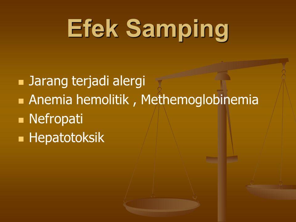 Efek Samping Jarang terjadi alergi Anemia hemolitik, Methemoglobinemia Nefropati Hepatotoksik