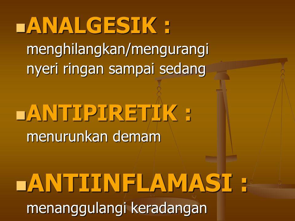 ANALGESIK : ANALGESIK :menghilangkan/mengurangi nyeri ringan sampai sedang ANTIPIRETIK : ANTIPIRETIK : menurunkan demam ANTIINFLAMASI : ANTIINFLAMASI