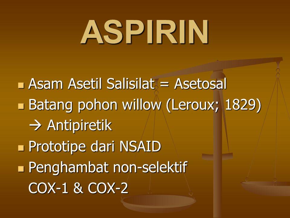 ASPIRIN Asam Asetil Salisilat = Asetosal Asam Asetil Salisilat = Asetosal Batang pohon willow (Leroux; 1829) Batang pohon willow (Leroux; 1829)  Anti
