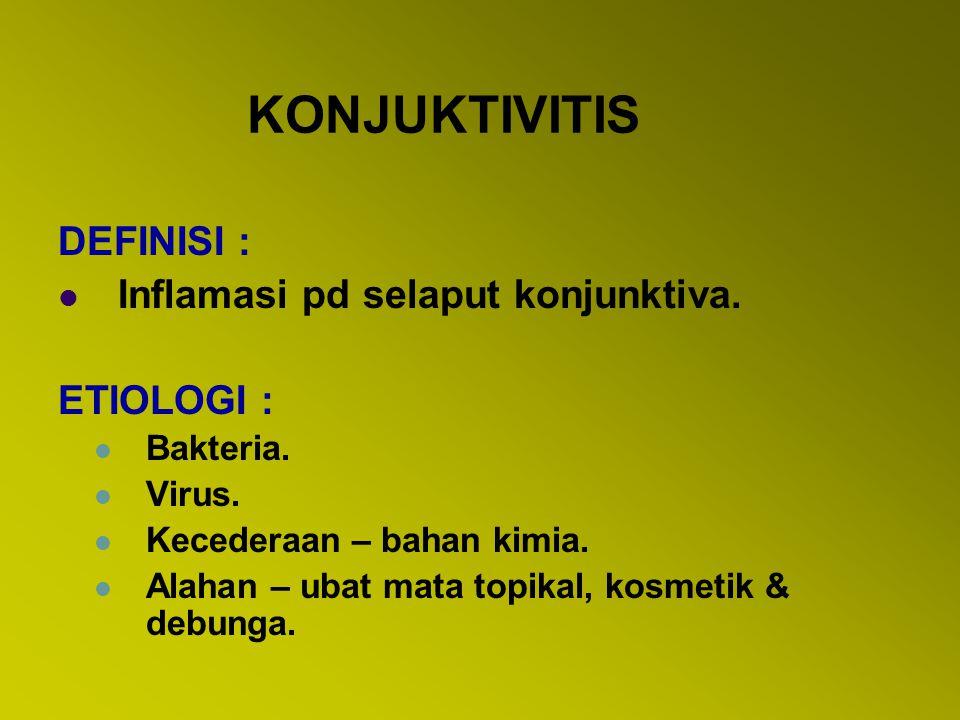 KONJUNKTIVITIS BAKTERIA ETIOLOGI : 1.Streptokokus pneumonia.