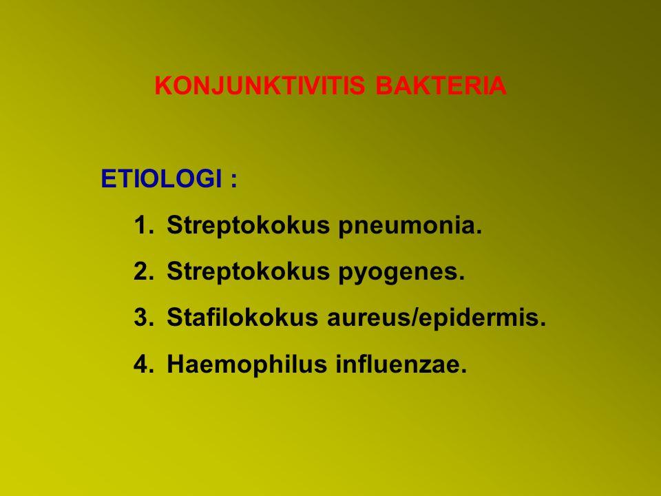 KONJUNKTIVITIS BAKTERIA ETIOLOGI : 1.Streptokokus pneumonia. 2.Streptokokus pyogenes. 3.Stafilokokus aureus/epidermis. 4.Haemophilus influenzae.