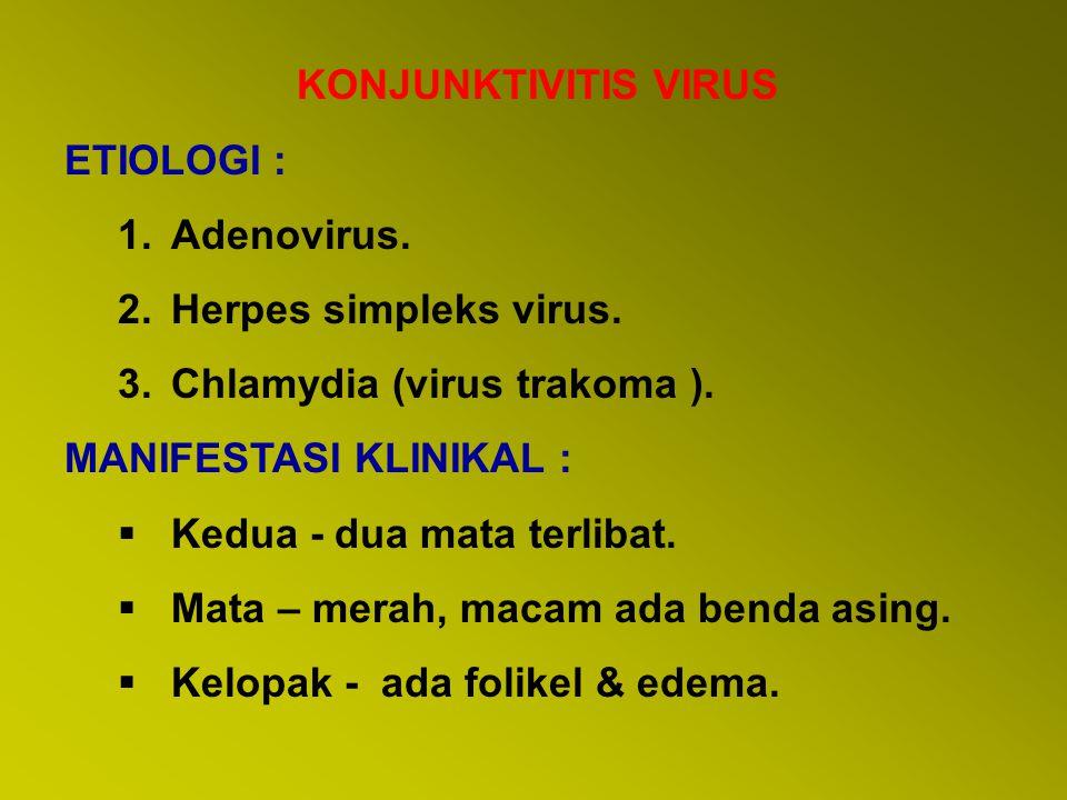  Adenovirus – SPK +ve dengan fluorescein, penglihatan kabur, -Blepharospasma, sakit, fotofobia & air mata meningkat ( S&S keratitis).