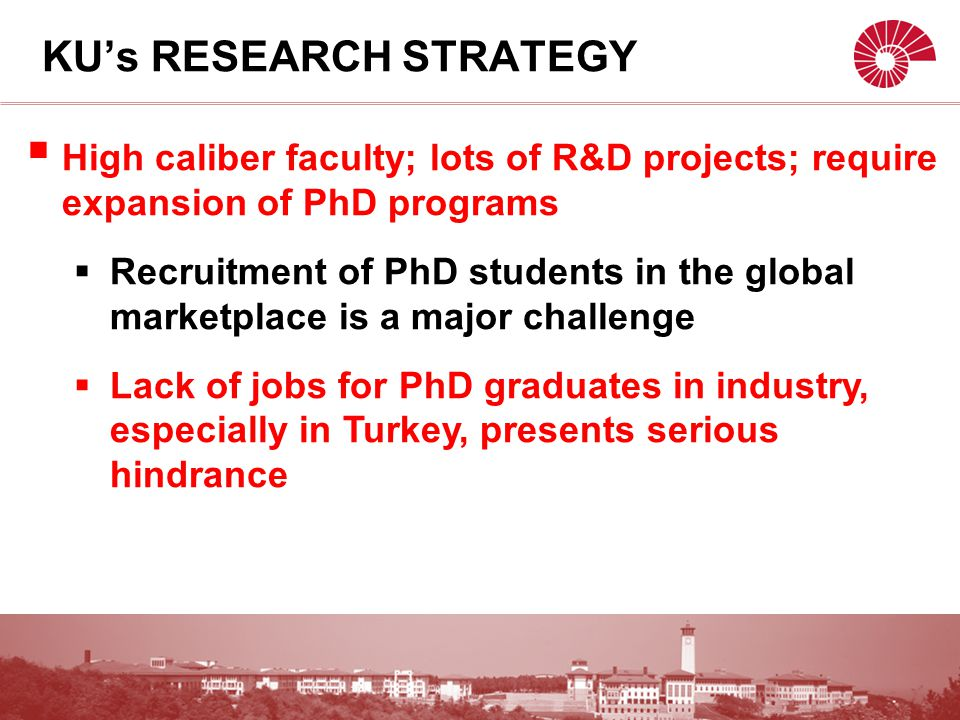  High caliber faculty; lots of R&D projects; require expansion of PhD programs  Recruitment of PhD students in the global marketplace is a major challenge  Lack of jobs for PhD graduates in industry, especially in Turkey, presents serious hindrance KU's RESEARCH STRATEGY