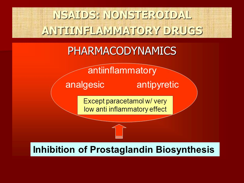 Aspirin (acetylsalicylic acid) the oldest NSAID the oldest NSAID Is given orally and is rapidly absorbed; 75% is metabolised in the liver Is given orally and is rapidly absorbed; 75% is metabolised in the liver Also inhibits platelet aggregation → ↓ CHD Also inhibits platelet aggregation → ↓ CHD Unwanted effects : gastric bleeding; dizziness, deafness and tinnitus ( salicylism'); postviral encephalitis (Reye s syndrome) in children; respiratory alkalosis followed by metabolic acidosis Unwanted effects : gastric bleeding; dizziness, deafness and tinnitus ( salicylism'); postviral encephalitis (Reye s syndrome) in children; respiratory alkalosis followed by metabolic acidosis