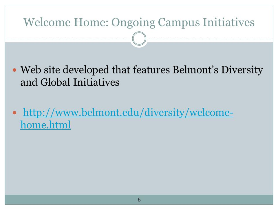 Welcome Home: Ongoing Campus Initiatives Web site developed that features Belmont's Diversity and Global Initiatives http://www.belmont.edu/diversity/welcome- home.htmlhttp://www.belmont.edu/diversity/welcome- home.html 5