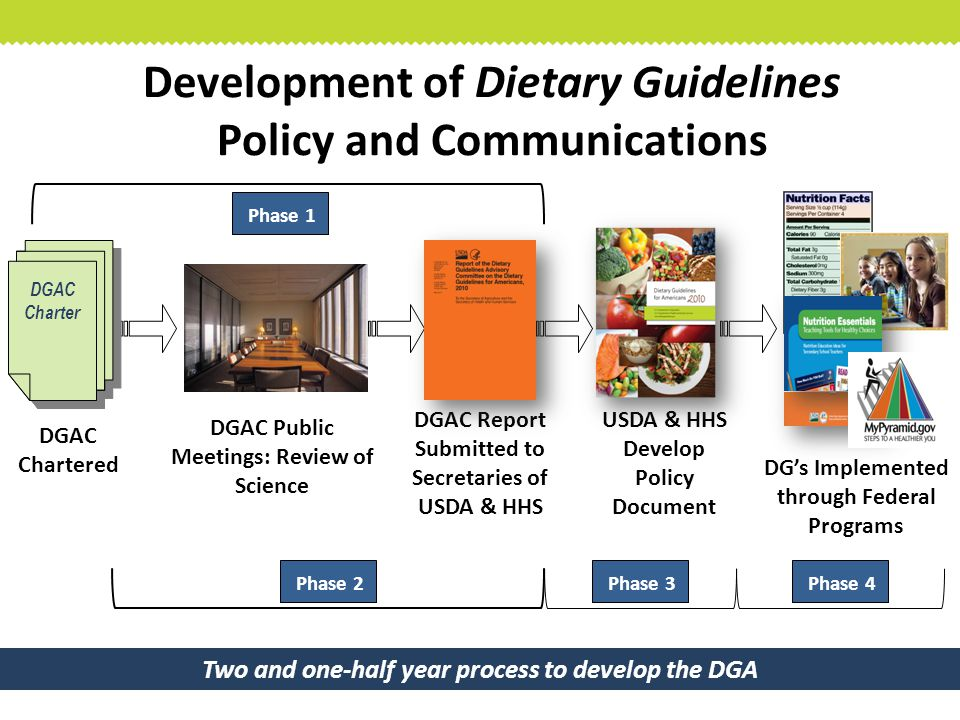 Development of Dietary Guidelines Policy and Communications DGAC Report Submitted to Secretaries of USDA & HHS USDA & HHS Develop Policy Document DGAC Chartered DG's Implemented through Federal Programs DGAC Charter DGAC Public Meetings: Review of Science Two and one-half year process to develop the DGA Phase 2 Phase 1 Phase 3 Phase 4