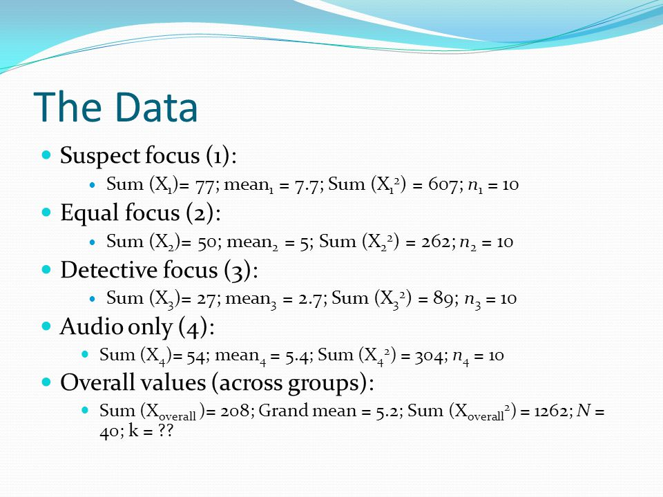 The Data Suspect focus (1): Sum (X 1 )= 77; mean 1 = 7.7; Sum (X 1 2 ) = 607; n 1 = 10 Equal focus (2): Sum (X 2 )= 50; mean 2 = 5; Sum (X 2 2 ) = 262; n 2 = 10 Detective focus (3): Sum (X 3 )= 27; mean 3 = 2.7; Sum (X 3 2 ) = 89; n 3 = 10 Audio only (4): Sum (X 4 )= 54; mean 4 = 5.4; Sum (X 4 2 ) = 304; n 4 = 10 Overall values (across groups): Sum (X overall )= 208; Grand mean = 5.2; Sum (X overall 2 ) = 1262; N = 40; k = ??