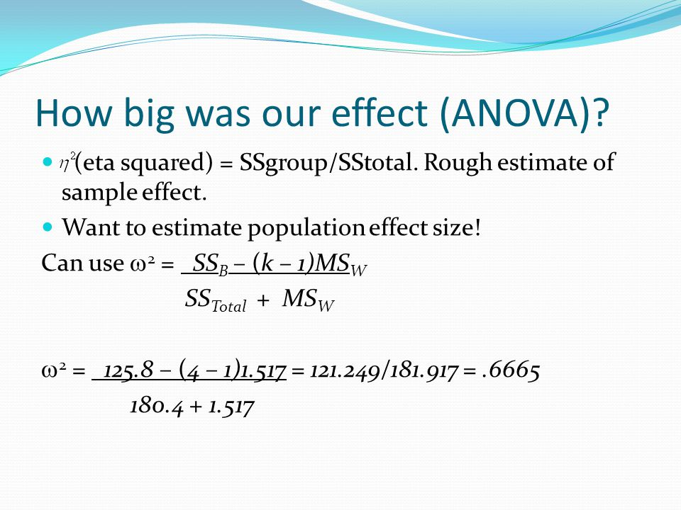 How big was our effect (ANOVA).(eta squared) = SSgroup/SStotal.