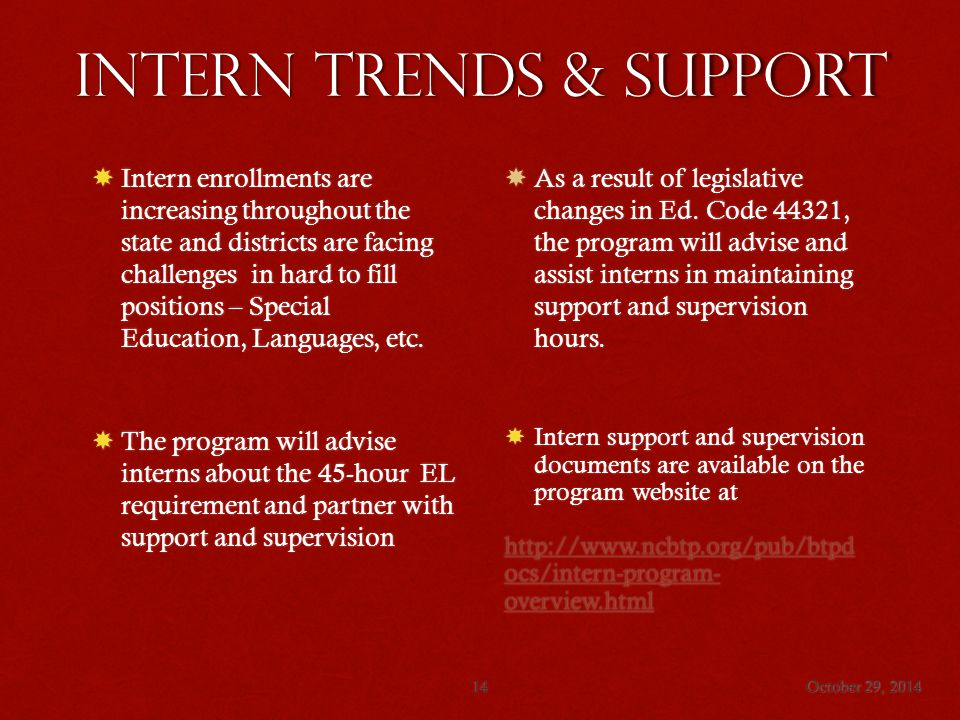 Intern trends & Support October 29, 201414  Intern enrollments are increasing throughout the state and districts are facing challenges in hard to fill positions – Special Education, Languages, etc.