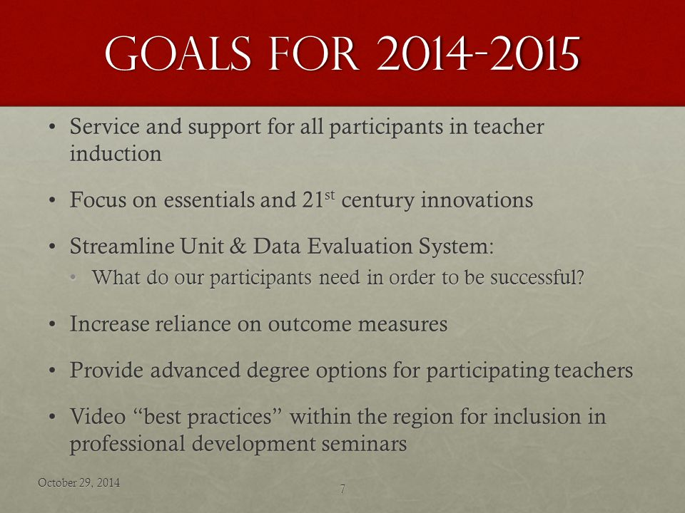 Goals for 2014-2015 Service and support for all participants in teacher inductionService and support for all participants in teacher induction Focus on essentials and 21 st century innovationsFocus on essentials and 21 st century innovations Streamline Unit & Data Evaluation System:Streamline Unit & Data Evaluation System: What do our participants need in order to be successful What do our participants need in order to be successful.