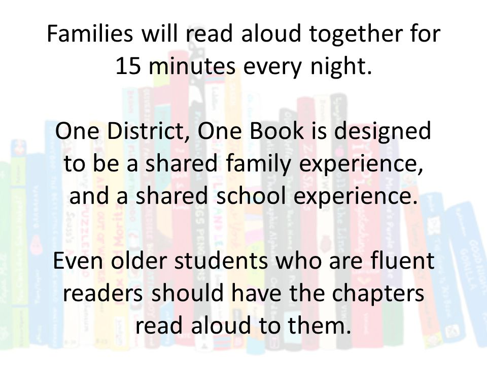 Everyone will read the same chapter on the same night.
