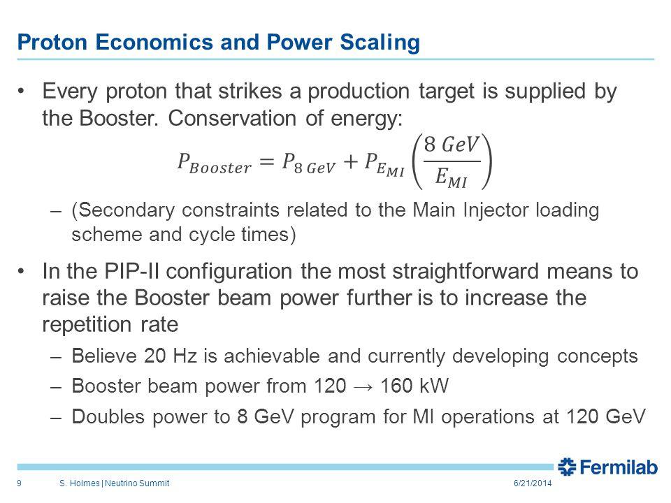 Proton Economics and Power Scaling 6/21/2014S. Holmes | Neutrino Summit9