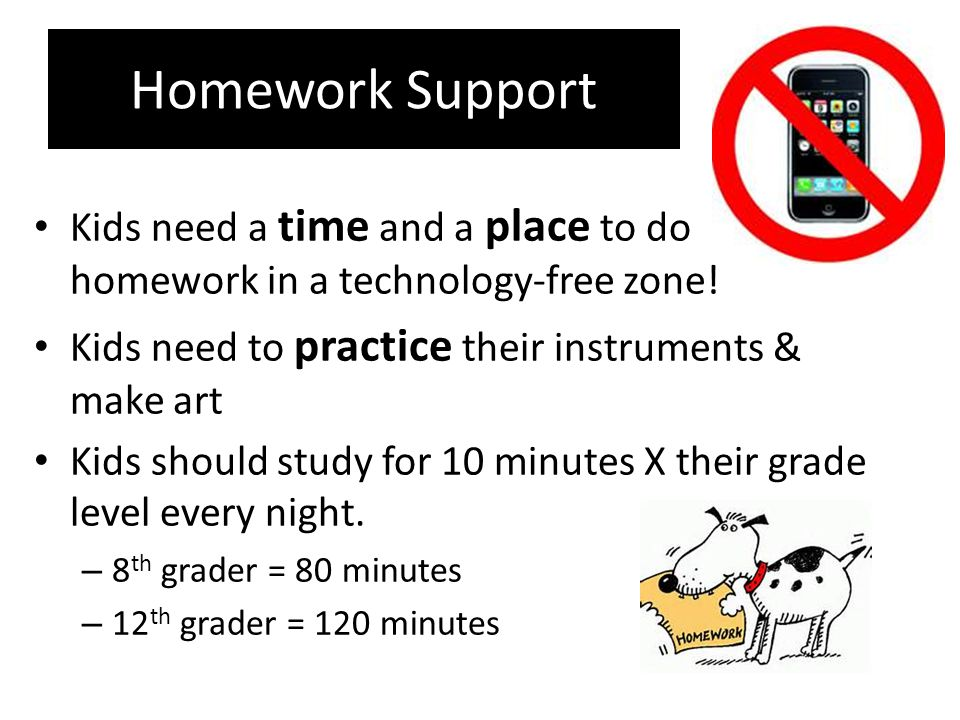 Homework Support Kids need a time and a place to do homework in a technology-free zone.