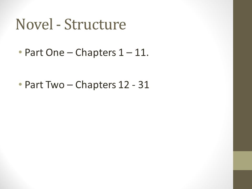 Novel - Structure Part One – Chapters 1 – 11. Part Two – Chapters 12 - 31