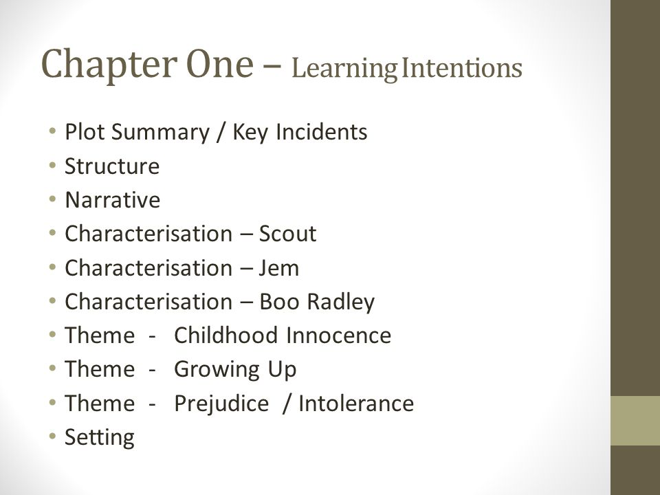 Chapter One – Learning Intentions Plot Summary / Key Incidents Structure Narrative Characterisation – Scout Characterisation – Jem Characterisation – Boo Radley Theme - Childhood Innocence Theme - Growing Up Theme - Prejudice / Intolerance Setting