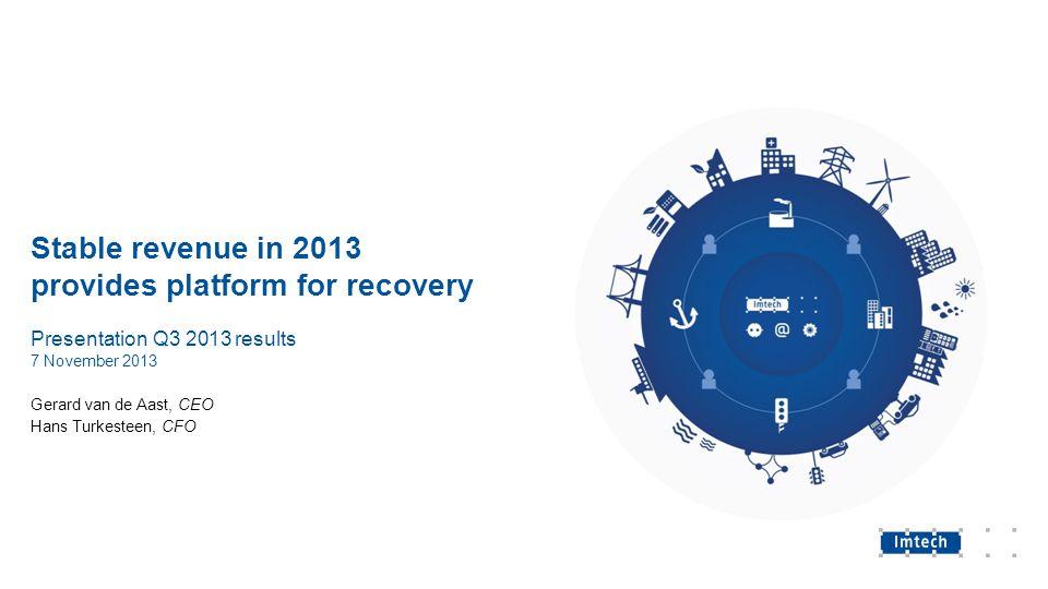 Stable revenue in 2013 provides platform for recovery Presentation Q3 2013 results 7 November 2013 Gerard van de Aast, CEO Hans Turkesteen, CFO