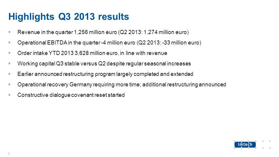 Highlights Q3 2013 results  Revenue in the quarter 1,256 million euro (Q2 2013: 1,274 million euro)  Operational EBITDA in the quarter -4 million eu