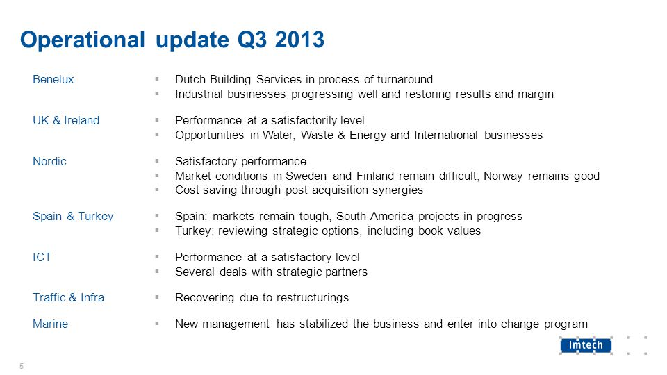 Operational update Q3 2013 Benelux  Dutch Building Services in process of turnaround  Industrial businesses progressing well and restoring results a