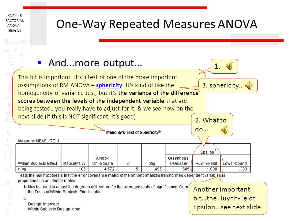 KNR 445 FACTORIAL ANOVA II Slide 12 One-Way Repeated Measures ANOVA  Output 2. This first bit is from the multivariate (more than one dependent varia