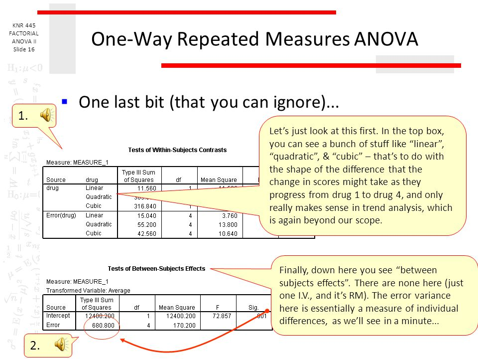 KNR 445 FACTORIAL ANOVA II Slide 15 One-Way Repeated Measures ANOVA  Same bit once again... 1. Here, you can see that, as the epsilon is 1, there is