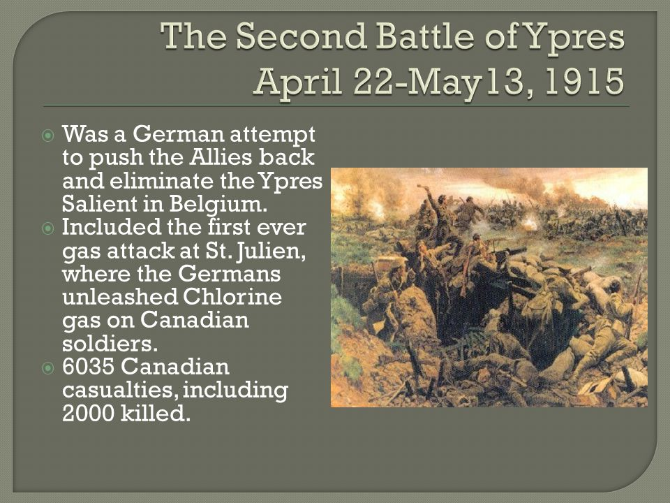  Was a German attempt to push the Allies back and eliminate the Ypres Salient in Belgium.