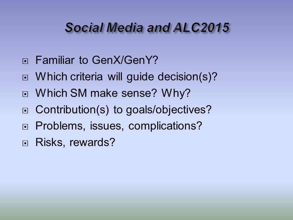  Familiar to GenX/GenY.  Which criteria will guide decision(s).