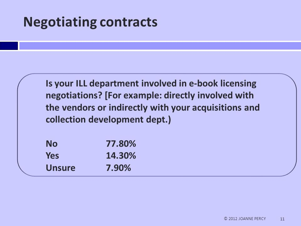 Negotiating contracts © 2012 JOANNE PERCY 11 Is your ILL department involved in e-book licensing negotiations.