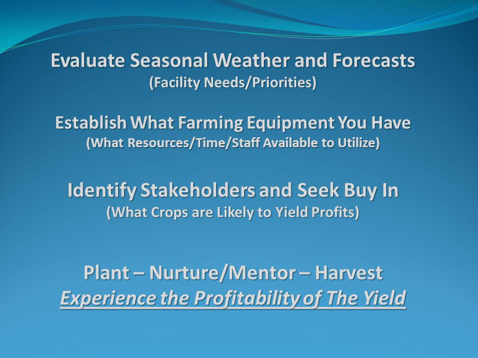 Evaluate Seasonal Weather and Forecasts (Facility Needs/Priorities) Establish What Farming Equipment You Have (What Resources/Time/Staff Available to