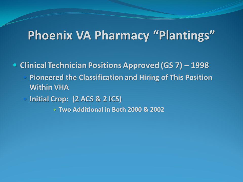 "Phoenix VA Pharmacy ""Plantings"" Clinical Technician Positions Approved (GS 7) – 1998 Clinical Technician Positions Approved (GS 7) – 1998 Pioneered th"