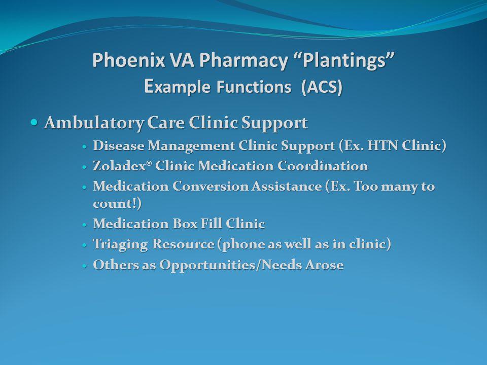 Phoenix VA Pharmacy Plantings E xample Functions (ACS) Ambulatory Care Clinic Support Ambulatory Care Clinic Support Disease Management Clinic Support (Ex.