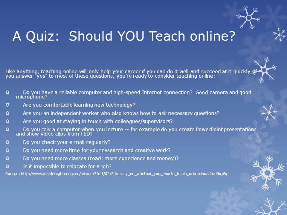 A Quiz: Should YOU Teach online.
