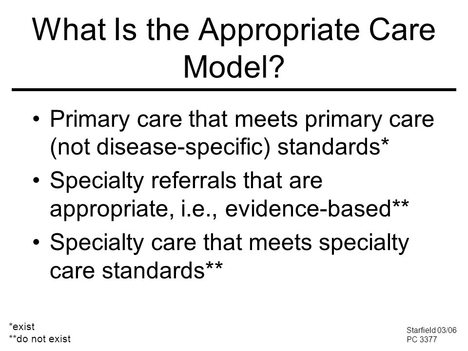 What Is the Appropriate Care Model.