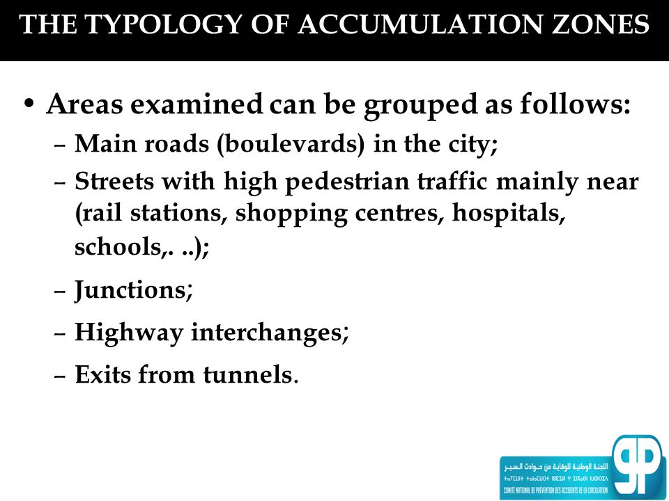 THE TYPOLOGY OF ACCUMULATION ZONES Areas examined can be grouped as follows: – Main roads (boulevards) in the city; – Streets with high pedestrian tra