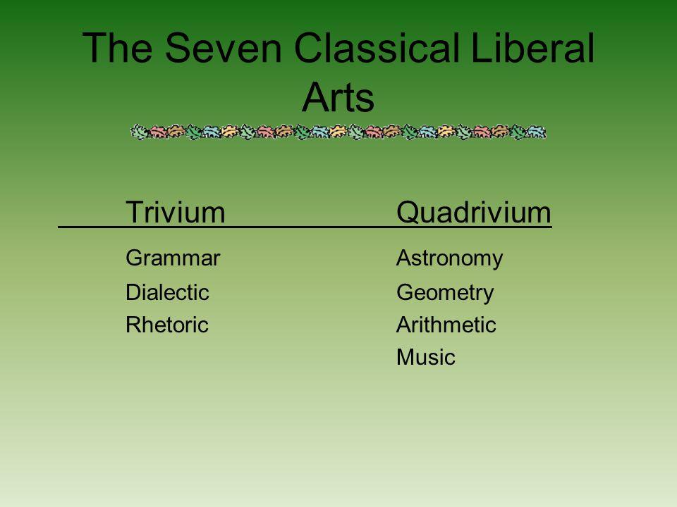 The Seven Classical Liberal Arts TriviumQuadrivium GrammarAstronomy DialecticGeometry RhetoricArithmetic Music