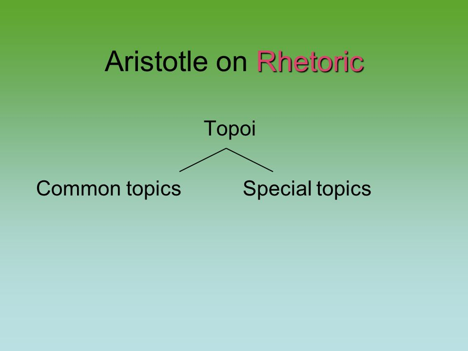 Rhetoric Aristotle on Rhetoric Topoi Common topics Special topics