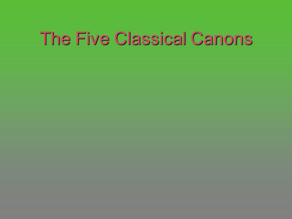 The Five Classical Canons