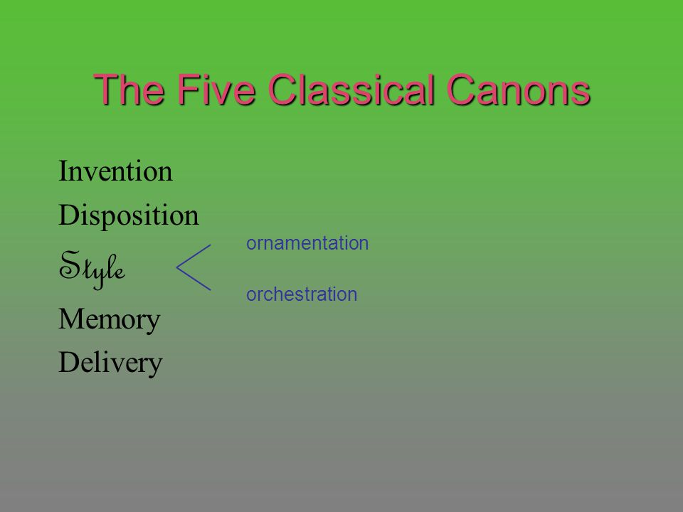 The Five Classical Canons Invention Disposition Style Memory Delivery ornamentation orchestration