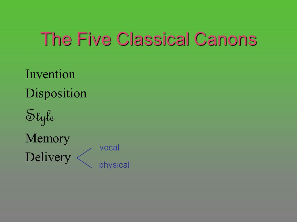 The Five Classical Canons Invention Disposition Style Memory Delivery vocal physical