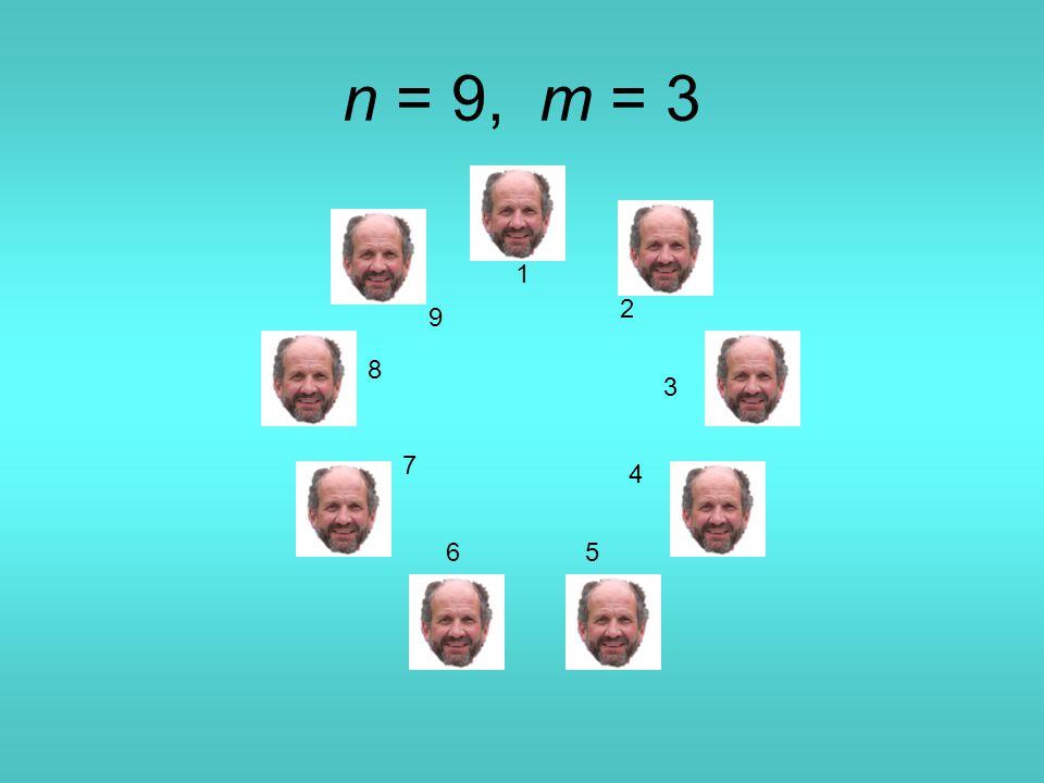 n = 9, m = 3 1 2 3 4 56 7 8 9