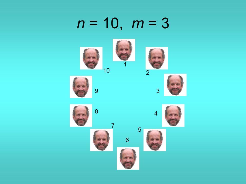 n = 10, m = 3 1 2 3 4 5 6 7 8 9 10