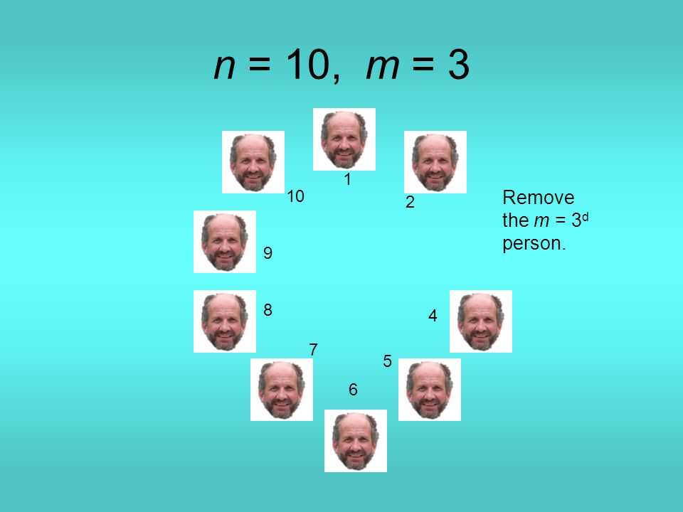 n = 10, m = 3 1 4 5 6 7 8 9 10 Remove the m = 3 d person. 2