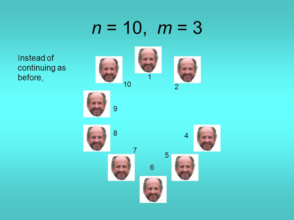 n = 10, m = 3 1 4 5 6 7 8 9 10 Instead of continuing as before, 2