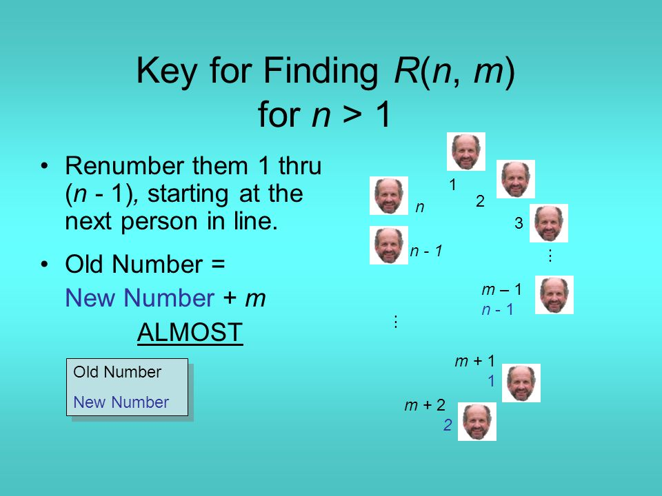 Key for Finding R(n, m) for n > 1 Renumber them 1 thru (n - 1), starting at the next person in line.