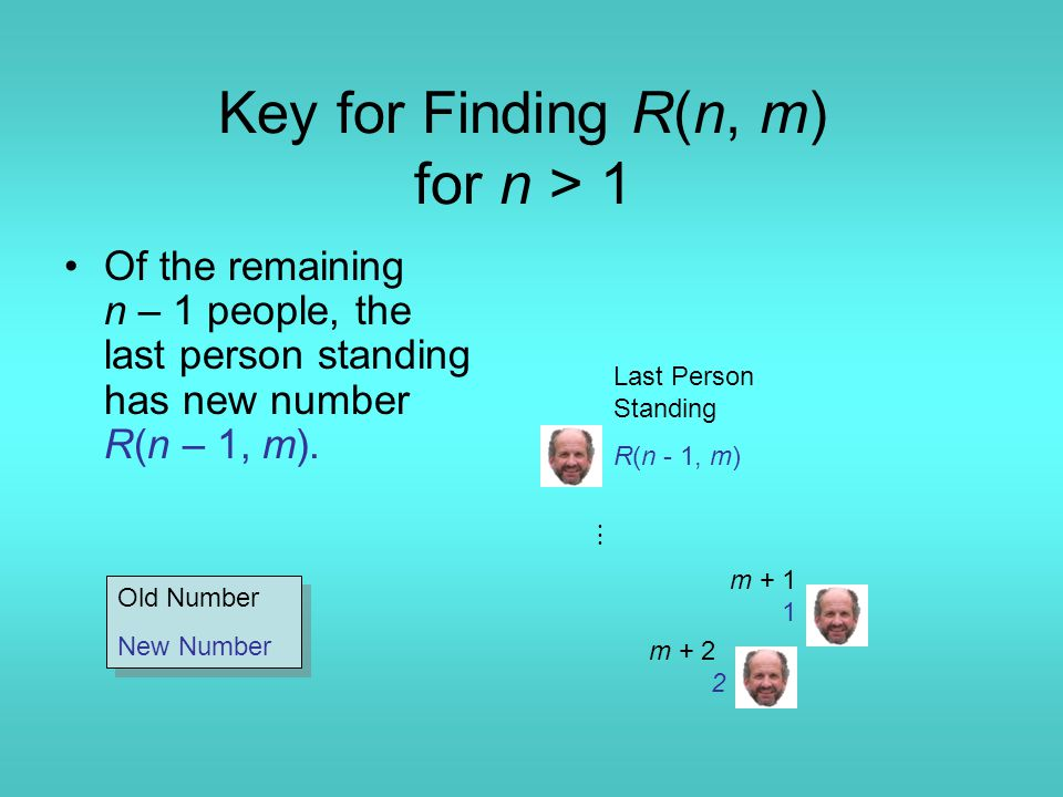 Key for Finding R(n, m) for n > 1 Of the remaining n – 1 people, the last person standing has new number R(n – 1, m). m + 1 1 m + 2 2 Last Person Stan