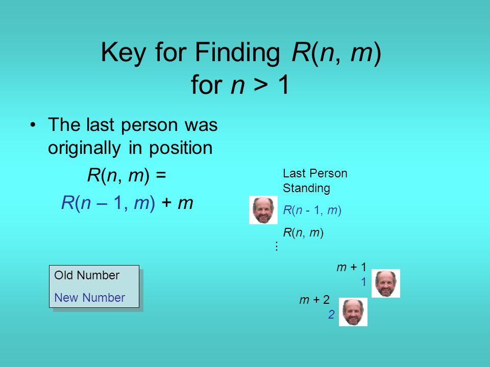 Key for Finding R(n, m) for n > 1 The last person was originally in position R(n, m) = R(n – 1, m) + m m + 1 1 m + 2 2 Last Person Standing R(n - 1, m