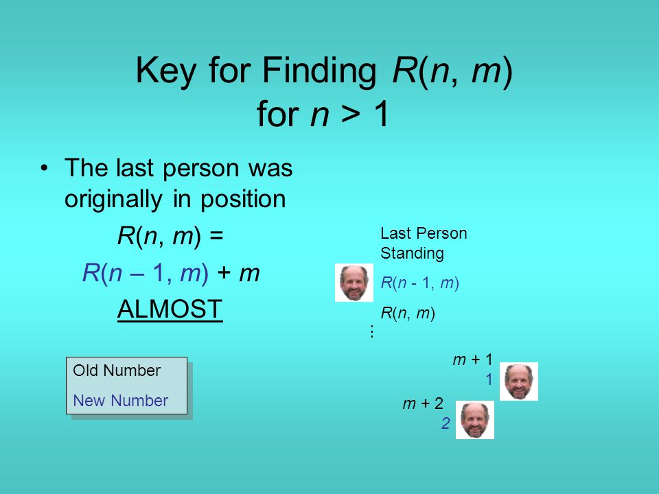 Key for Finding R(n, m) for n > 1 The last person was originally in position R(n, m) = R(n – 1, m) + m ALMOST m + 1 1 m + 2 2 Last Person Standing R(n - 1, m) R(n, m)  Old Number New Number Old Number New Number