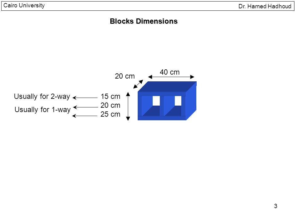 3 Dr. Hamed Hadhoud Cairo University Blocks Dimensions 40 cm 20 cm 15 cm 20 cm 25 cm Usually for 2-way Usually for 1-way