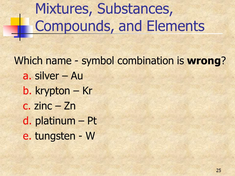 25 Mixtures, Substances, Compounds, and Elements Which name - symbol combination is wrong.